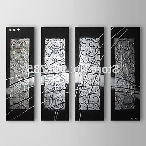[%4 Piece/set 100%hand Painted Thick Black Silver Abstract Oil With Regard To Favorite Black Silver Wall Art|Black Silver Wall Art With Regard To Well Liked 4 Piece/set 100%hand Painted Thick Black Silver Abstract Oil|Famous Black Silver Wall Art Throughout 4 Piece/set 100%hand Painted Thick Black Silver Abstract Oil|Most Recent 4 Piece/set 100%hand Painted Thick Black Silver Abstract Oil Regarding Black Silver Wall Art%] (View 7 of 15)