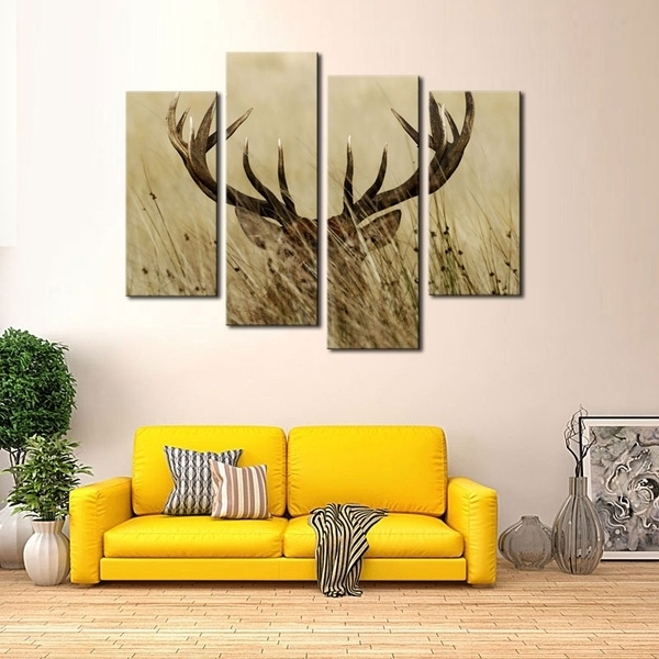4 Pieces Canvas Wall Art Deer Stag With Long Antler In The (View 10 of 15)