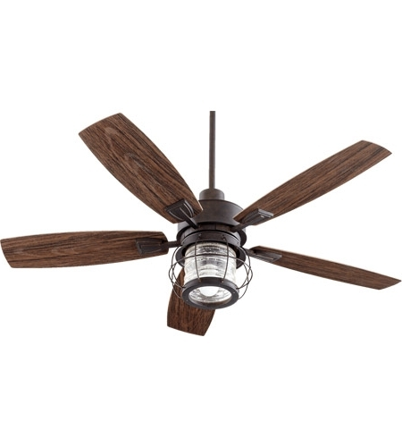 44 Inch Outdoor Ceiling Fans With Lights Throughout Fashionable Quorum 13525 44 Galveston 52 Inch Toasted Sienna With Walnut Blades (View 9 of 15)
