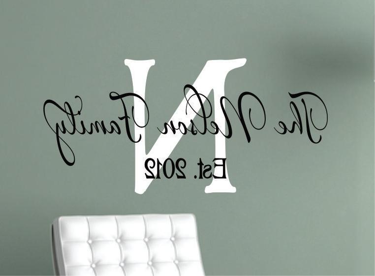 48 Last Name Wall Art, Custom Last Name Monogram Family Vinyl Wall regarding 2018 Last Name Wall Art