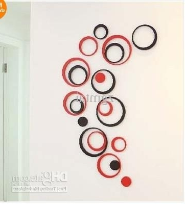 5 Circles Ring Creative Stereo Wall Stickers Mural Indoor 3D Wall In Famous 3D Circle Wall Art (View 9 of 15)