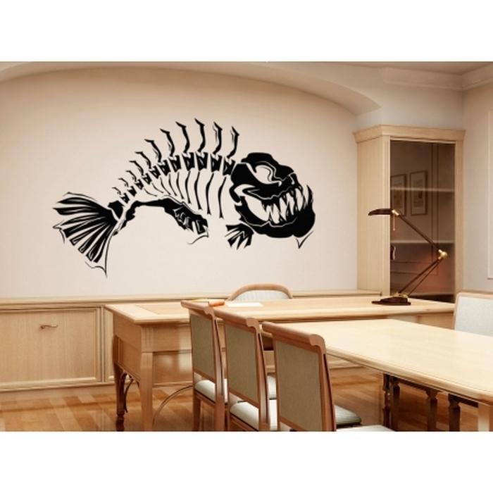 5. Modern Wall Art Fish Skeleton Modern Art Wall Tattoo Feature Wall For Recent Tattoos Wall Art (Gallery 9 of 15)