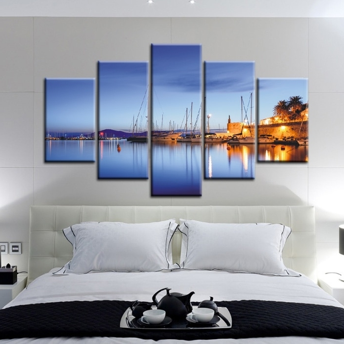 5 Muti Piece Blue Seascape Beautiful Vertical Canvas Prints Modern In Most Recently Released Horizontal Canvas Wall Art (View 4 of 15)