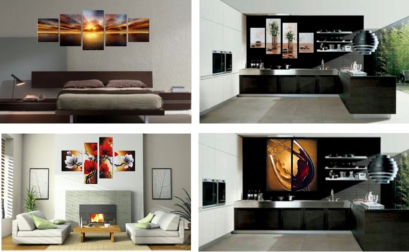 5 Panels Handpainted Abstract Cityscape Building Oil Canvas Painting With Regard To 2017 7 Piece Canvas Wall Art (Gallery 14 of 15)
