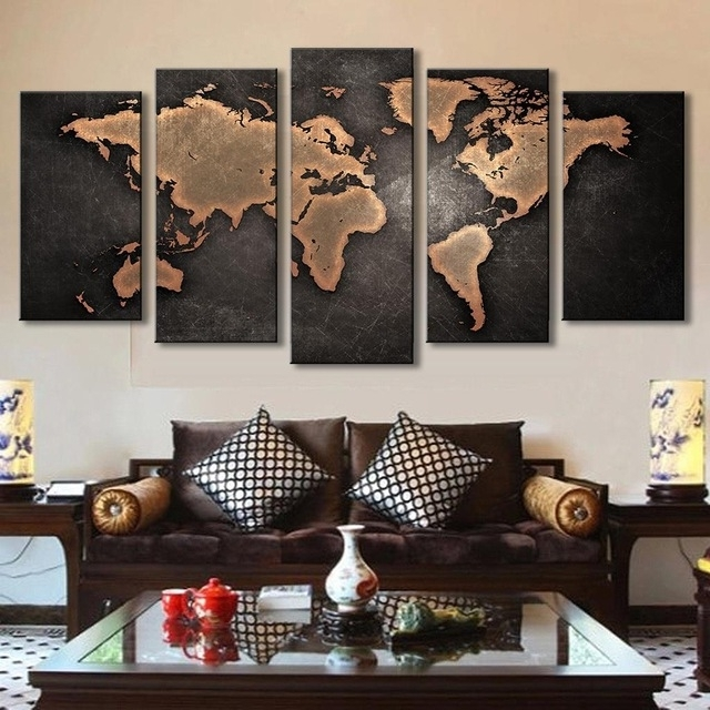 5 Pcs/set Vintage Abstract Wall Art Painting World Map Print On Inside Popular Abstract World Map Wall Art (Gallery 2 of 15)