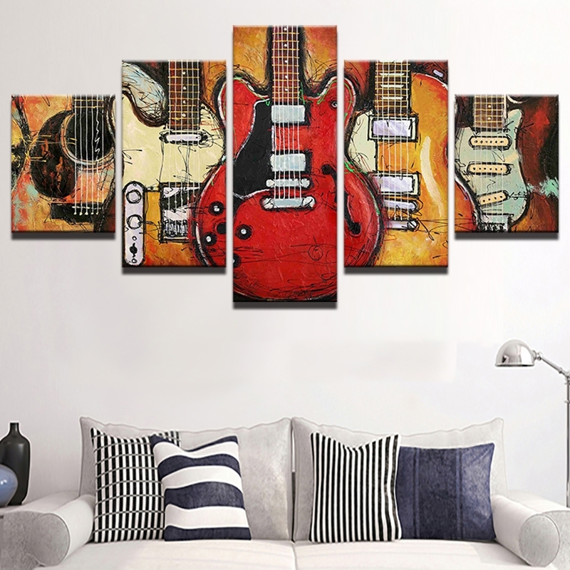 5 Piece Abstract Canvas Wall Art Acoustic Guitar Lover Music Poster With Regard To Well Known Abstract Wall Art For Office (Gallery 10 of 15)