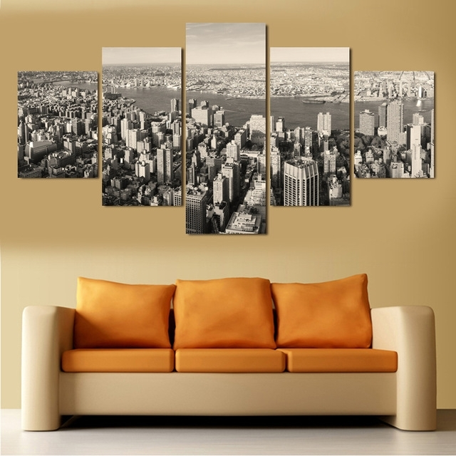 5 Piece Wall Art Canvas Painting Black And White New York City In Newest Black And White New York Canvas Wall Art (Gallery 11 of 15)