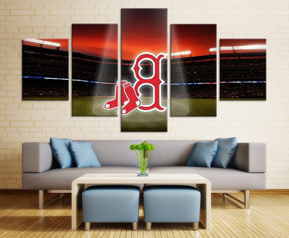 5 Pieces Modern Cute Boston Red Sox Wall Pictures High Quality Wall Regarding Well Liked Red Sox Wall Art (View 8 of 15)