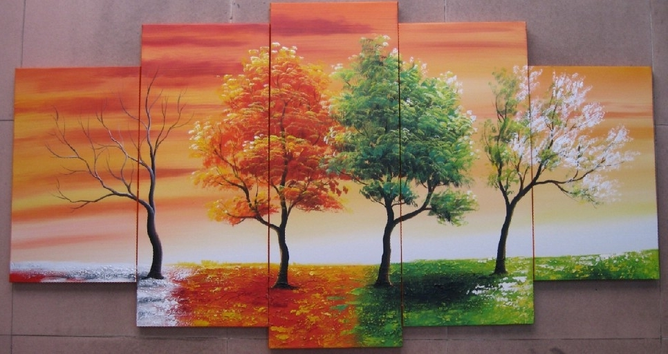5103 Handpainted 5 Piece Modern Abstract Oil Painting On Canvas Wall Intended For Well Known Seasonal Wall Art (View 2 of 15)