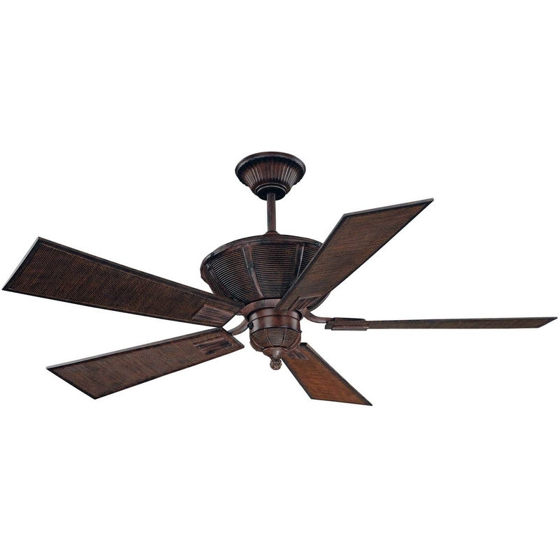"""52 110 5Ba 04 Savoy House Rustic Danville 52"""" 5 Blade Ceiling Fan Within Most Up To Date Outdoor Ceiling Fans With Bamboo Blades (Gallery 11 of 15)"""