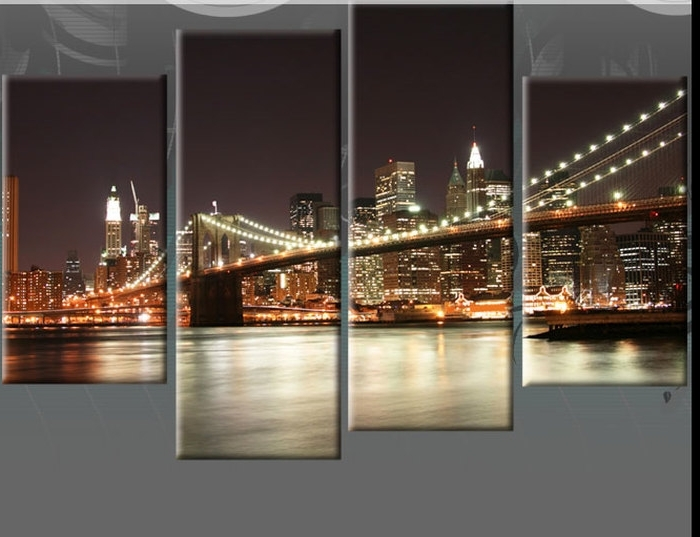 6. Brown Sepia New York 4 Panel Nyc Canvas Wall Art Pictured New within Well-liked Brooklyn Bridge Wall Decals