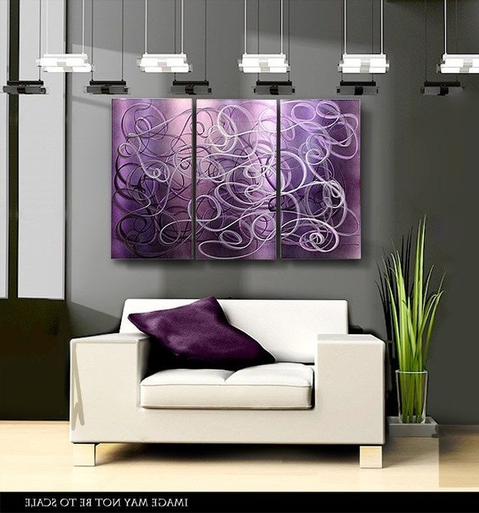 6. Purple Contemporary Metal Abstract Wall Art Confused Passion Within Newest Purple And Grey Abstract Wall Art (Gallery 12 of 15)