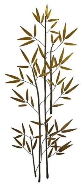 60'' Bamboo Branch Gold Metal Wall Art, Tall Asian Decor – Asian Throughout Most Recent Bamboo Metal Wall Art (Gallery 6 of 15)