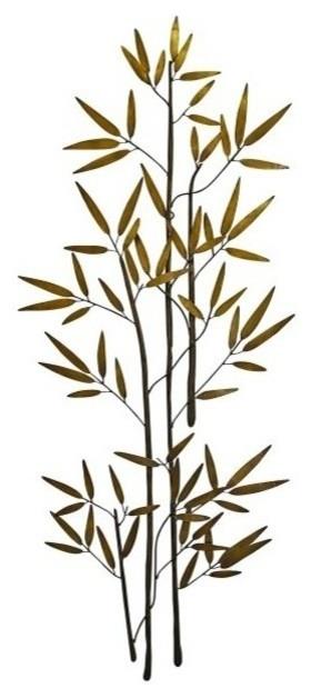 60'' Bamboo Branch Gold Metal Wall Art, Tall Asian Decor - Asian throughout Most Recent Bamboo Metal Wall Art