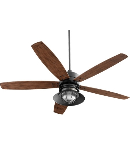 60 Inch Outdoor Ceiling Fans With Lights Inside Favorite Quorum 14605 69 Portico 60 Inch Noir With Walnut Blades Outdoor (View 2 of 15)