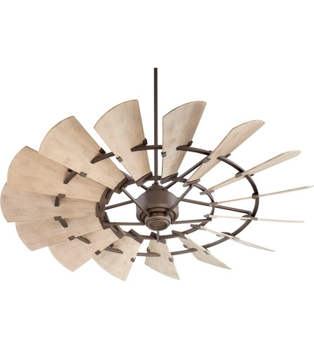 60 Inch Outdoor Ceiling Fans With Lights Intended For Most Current Quorum 196015 86 Windmill 60 Inch Oiled Bronze With Weathered Oak (View 4 of 15)