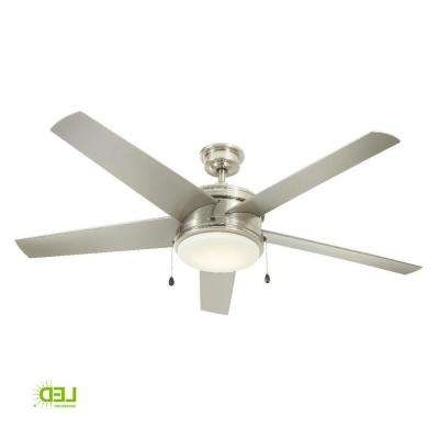 60 Or Greater – Outdoor – Ceiling Fans – Lighting – The Home Depot Pertaining To Most Popular Brushed Nickel Outdoor Ceiling Fans With Light (Gallery 12 of 15)