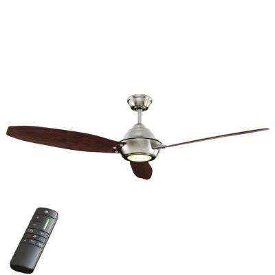 60 Or Greater – Outdoor – Ceiling Fans – Lighting – The Home Depot With Well Known Brushed Nickel Outdoor Ceiling Fans With Light (Gallery 7 of 15)