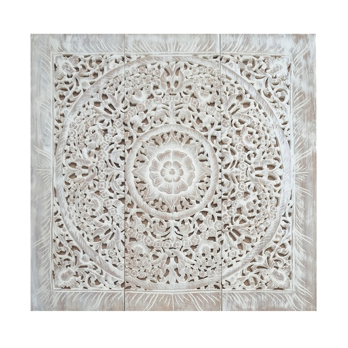 7. Carved Wood Wall Art Panel White Wash 3X3Ft 1 100X100 Balinese Pertaining To Favorite Balinese Wall Art (Gallery 11 of 15)