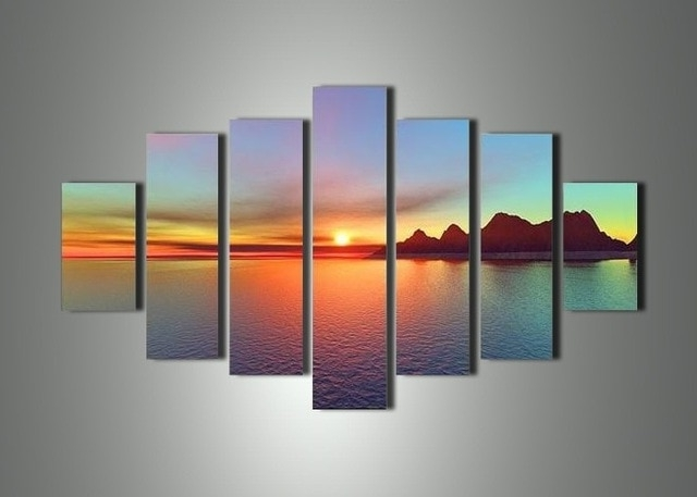 7 Piece Canvas Wall Art For Trendy Free Shipping Handmade 7 Piece Landscape Wall Art Oil Painting On (Gallery 1 of 15)