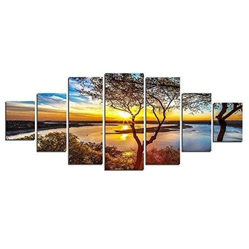 7 Piece Wall Art: Amazon Pertaining To Well Known 7 Piece Canvas Wall Art (Gallery 3 of 15)