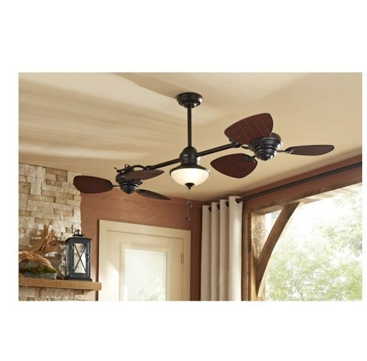 "74"" Indoor Outdoor Ceiling Fan Dual Fan Heads & Light Kit Twin With Regard To Famous Brown Outdoor Ceiling Fan With Light (Gallery 14 of 15)"