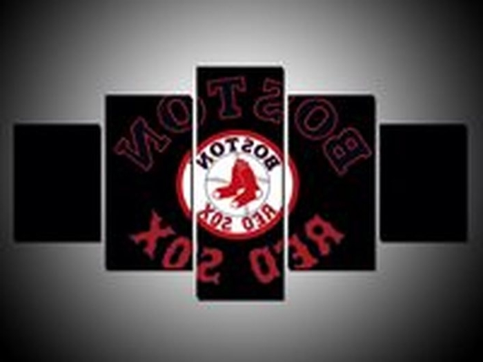 8. Boston Red Sox Logo 5 Panel Canvas Hd Prints Painting Wall Art For Favorite Boston Red Sox Wall Art (Gallery 11 of 15)