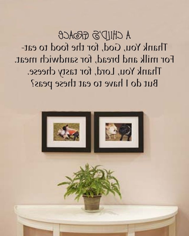 A Child's Grace Thank You, God, For The Food To Eat Vinyl Wall Art Intended For Well Liked Grace Wall Art (View 1 of 15)