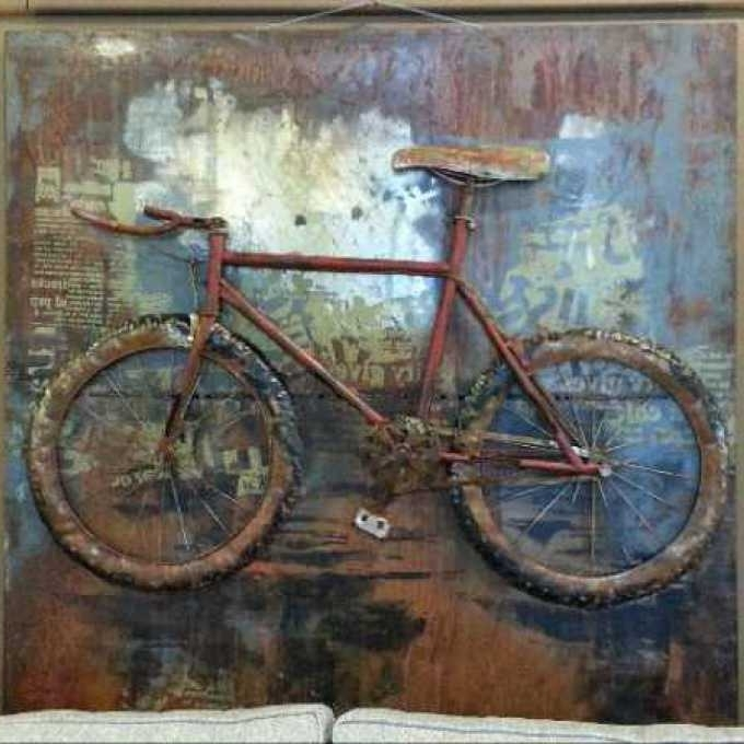 A Large Curtis Jere Metal Bicycle Wall Sculpture Usa 1970S, Metal In Recent Bicycle Metal Wall Art (View 2 of 15)