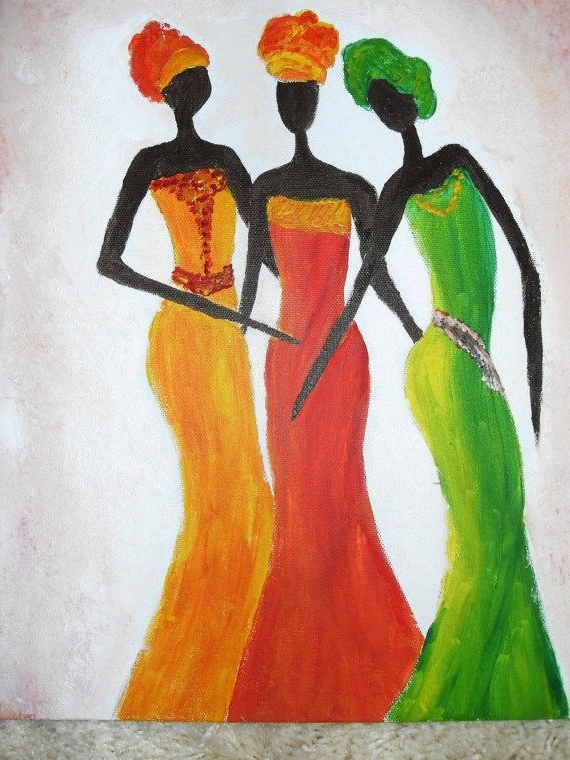 Abstract African Wall Art Pertaining To Most Recently Released Acrylic Abstract African Painting African Ladies 2 Dance Romantic (View 6 of 15)