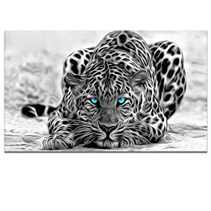 Abstract Animal Wall Art Intended For Fashionable Amazon: Black And White Animal Canvas Wall Art, Abstract Leopard (View 3 of 15)