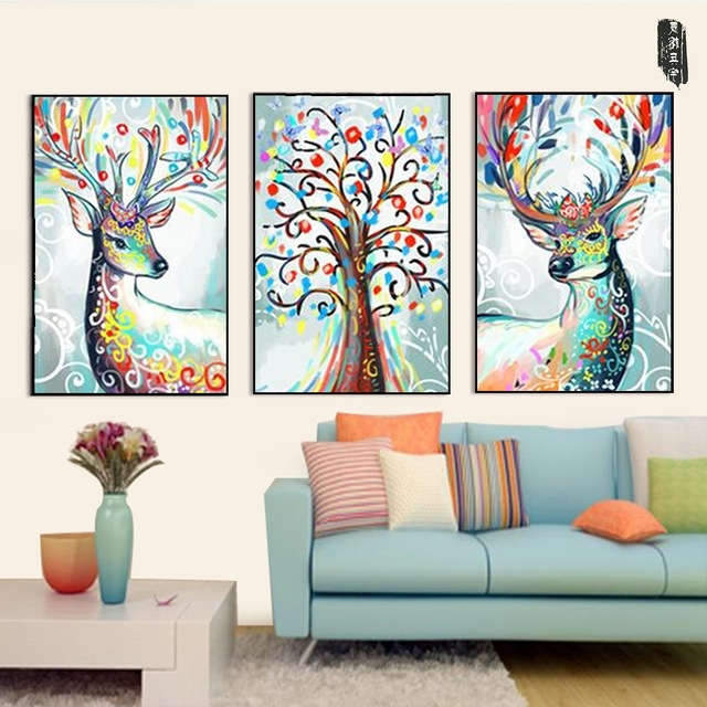 Abstract Animal Wall Art Throughout Current Abstract Animal Wall Art Deer Canvas Painting Posters And Prints (View 11 of 15)