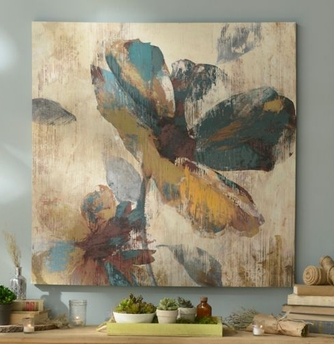 Abstract Aqua & Brown Floral Canvas Art Print (View 3 of 15)