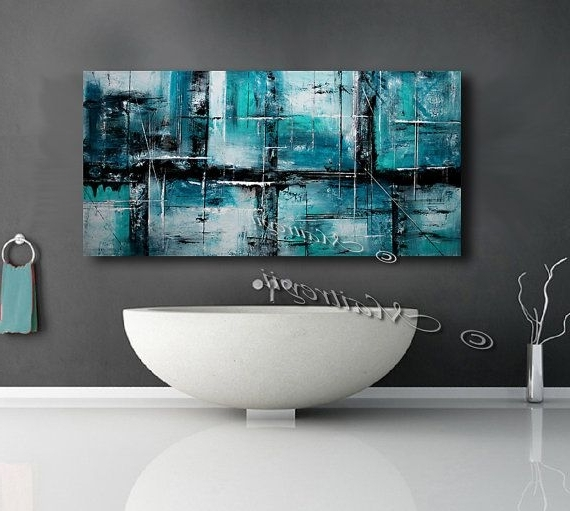 "Abstract Art 72"" Large Wall Art, Teal, Turquoise, Brown And Orange Pertaining To Popular Large Teal Wall Art (Gallery 1 of 15)"