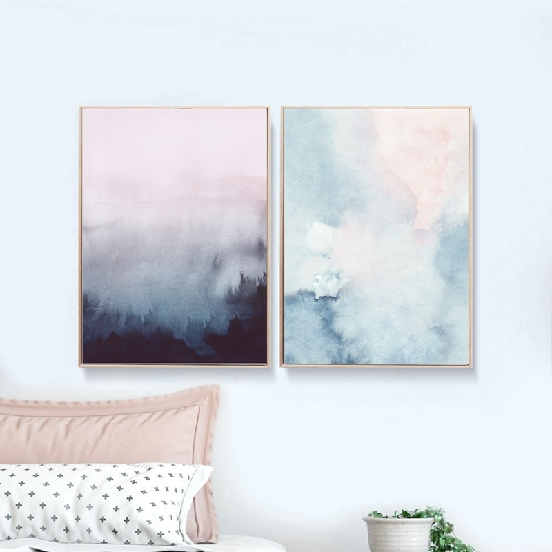 Abstract Art Canvas Painting Modern Wall Picture , Watercolor Pastel Intended For Current Pastel Abstract Wall Art (Gallery 15 of 15)