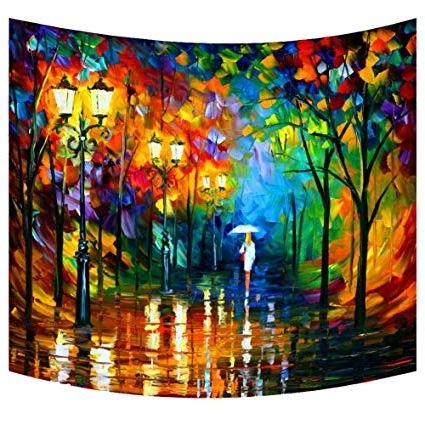 Abstract Art Wall Hangings In Fashionable Amazon: Abstract Art Wall Tapestry Woman In A Raining Street (View 3 of 15)