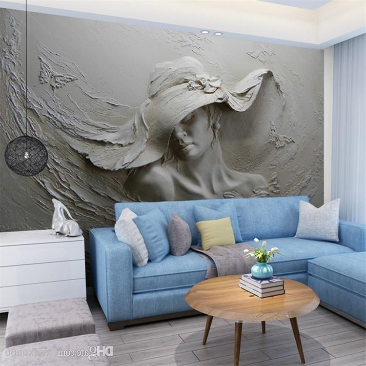Abstract Art Wall Murals Regarding Well Liked Custom Wallpaper 3D Stereoscopic Embossed Gray Beauty Oil Painting (View 4 of 15)