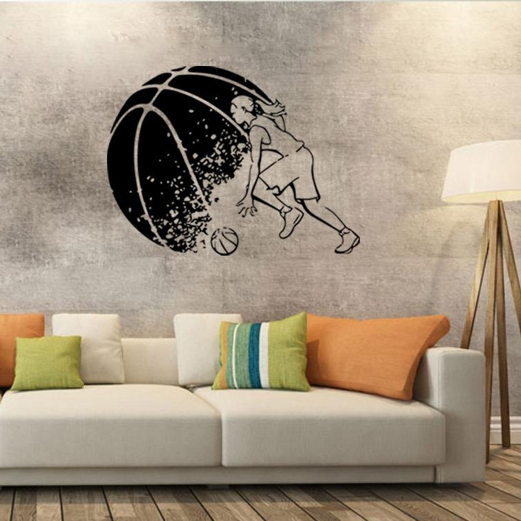Abstract Basketball Player Wall Art Mural Decor Boys Room Wallpaper Throughout 2017 Abstract Graphic Wall Art (View 2 of 15)