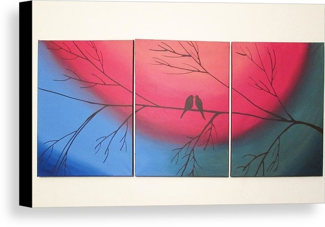 Abstract Bird Wall Art Pertaining To Current Rainbow Love Bird Landscape Abstract Bird Painting Triptych Nursery (View 7 of 15)