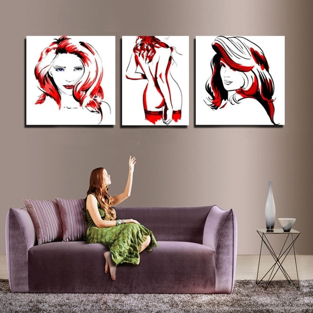 Abstract Body Wall Art Intended For Widely Used Modern Red And Black Women Body Canvas Painting Sketch Design (View 1 of 15)