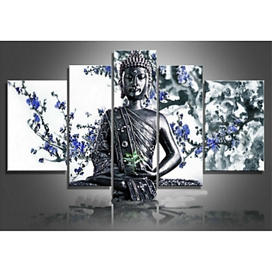 Abstract Buddha Wall Art Within Latest Religion Buddha Blue Flower  Abstract Oil Painting Wall Art Modern (View 7 of 15)