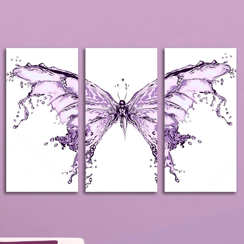 Abstract Butterfly Wall Art Inside Fashionable Abstract Modern Decoration With Butterfly For Teen Room Of A Girl (View 12 of 15)