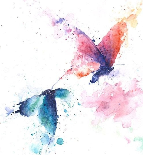 Abstract Butterfly Wall Art Inside Most Recent Butterfly Print – Kitchen Decor, Watercolor Butterfly Wall Art (View 6 of 15)