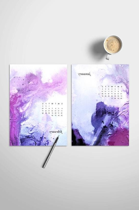 Abstract Calendar Art Wall For Favorite Watercolor Calendar 2018 Abstract Paintings Printable Planner (View 14 of 15)