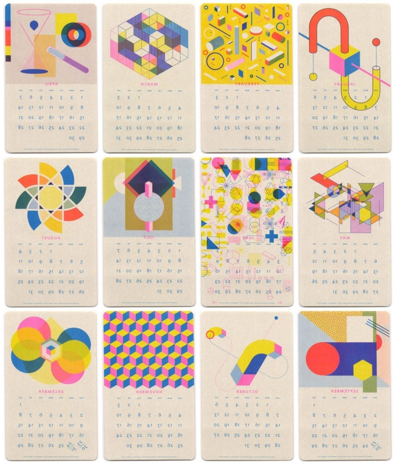 Abstract Calendar Art Wall With Most Recent 15 Modern Calendars For 2018 – Design Milk (View 8 of 15)