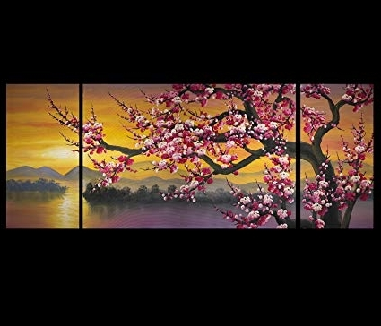 Abstract Cherry Blossom Wall Art In Popular Amazon: Abstract Painting Canvas Prints Modern Wall Art Décor (View 3 of 15)
