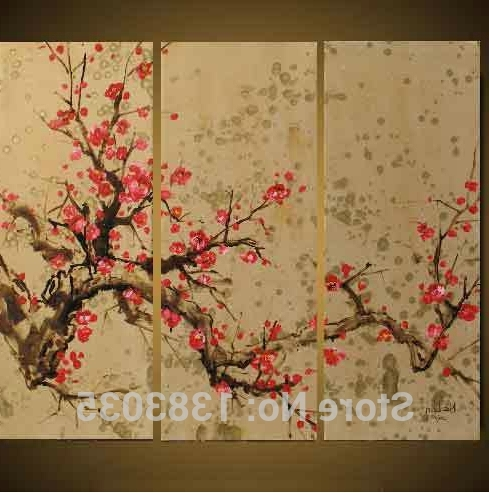 Abstract Cherry Blossom Wall Art Within Best And Newest Hand Painted Abstract Flower Cherry Blossom Wall Paintings 3 Piece (View 14 of 15)