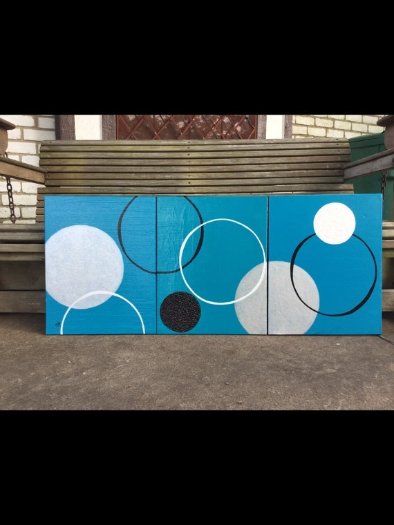 Abstract Circles Wall Art Inside Famous 3 Piece Abstract Art Circle Painting Hand Painted In The U.s (View 6 of 15)