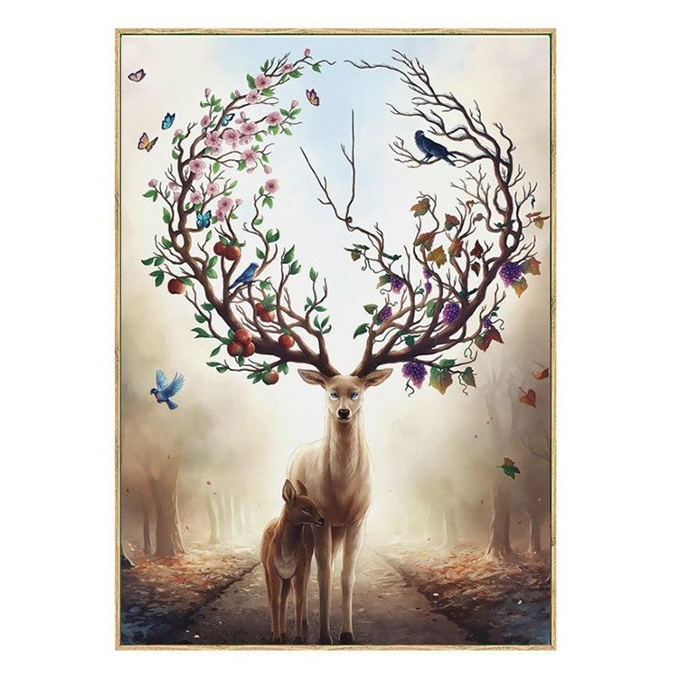 Abstract Deer Wall Art Throughout 2018 Modern Abstract Elk Deer Canvas Painting Frameless Wall Art Bedroom (View 5 of 15)