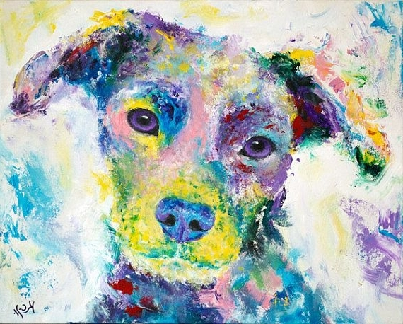 Abstract Dog Wall Art. Dog Artist. Colorful Dog Painting (View 2 of 15)